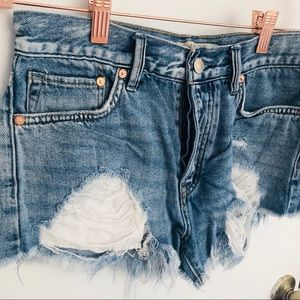 Free People Distressed High rise shorts